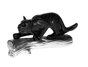 Daum Crystal - Small Black Panther w/Polished Metal - 03339