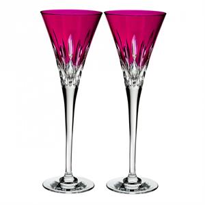 Waterford -Lismore Pops Hot Pink Toasting Flute, Pair