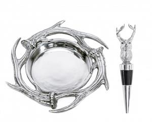 Arthur Court - Antler Wine Coaster & Stopper Set