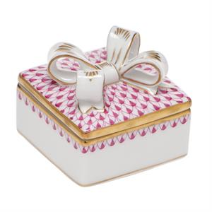 Herend - Box W/bow, Multicolor / Raspberry