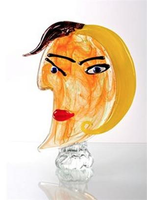 Viz Glass -Picasso - Orange and Lime Green with Yellow and Black Hair