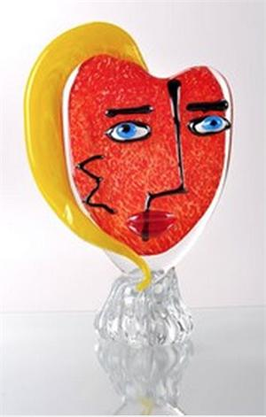 Viz Glass - Picasso - Red with Yellow Hair