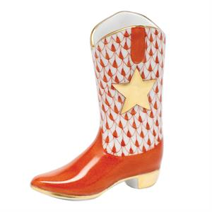 Herend - Cowboy Boot, Rust Fishnet