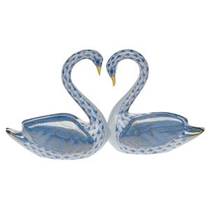Herend Kissing Swans - Blue