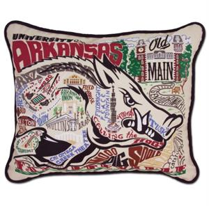 Catstudio - University of Arkansas Embroidered Pillow