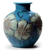 Lladro - Poppy Flowers Vase (blue)