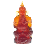 Daum Crystal - Small Dark Amber Ganesha - 01282-3