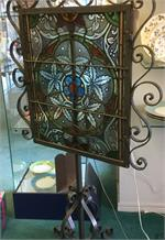Antique Stained Glass Window w/light
