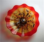 Viz Art Glass - Amber with Red Celestial Sconce - Large